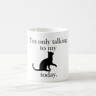 Talking to the cat mug
