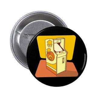 Tall arcade game console 6 cm round badge