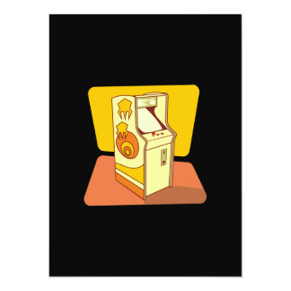Tall arcade game console 14 cm x 19 cm invitation card