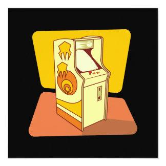 """Tall arcade game console 5.25"""" square invitation card"""
