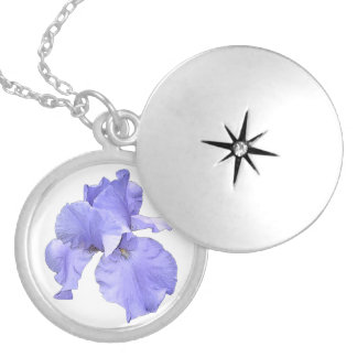 Tall Bearded Purple Iris Silver Plated Necklace