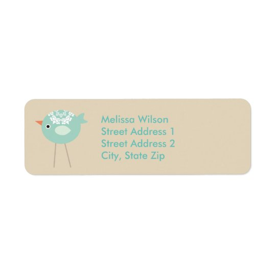 Tall Blue Bird Tan Return Address Labels