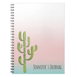 Tall Cactus and Desert Sunset Notebook