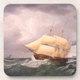 Tall Clipper Ship Sailing Ocean High Seas Coaster