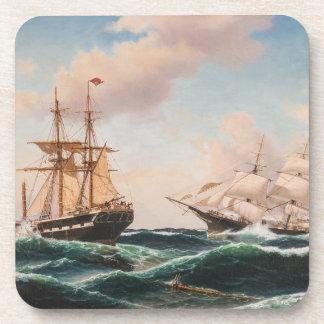 Tall Clipper Ships Sailing Ocean High Seas Coaster