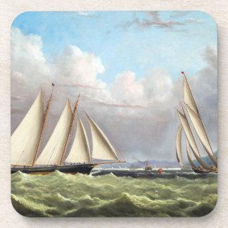 Tall Clipper Ships Sailing Ocean Seas Coaster