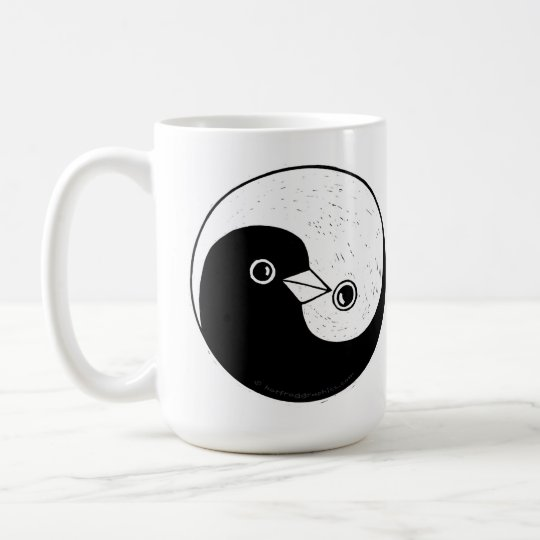 Tall coffee mug with Yin Yang doves of peace