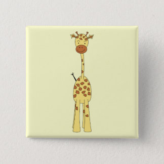 Tall Cute Giraffe. Cartoon Animal. 15 Cm Square Badge