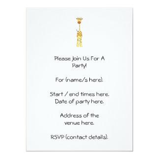 Tall Cute Giraffe. Cartoon Animal. 17 Cm X 22 Cm Invitation Card