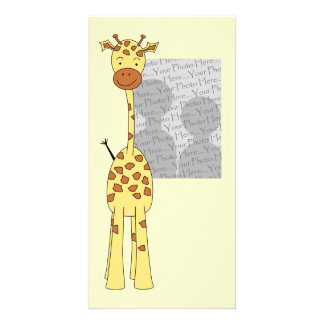 Tall Cute Giraffe. Cartoon Animal. Card