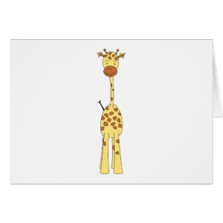 Tall Cute Giraffe. Cartoon Animal. Card