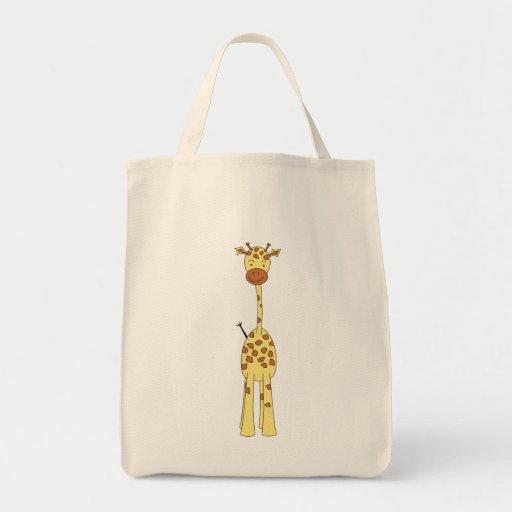 Tall Cute Giraffe. Cartoon Animal. Grocery Tote Bag