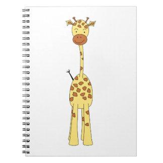 Tall Cute Giraffe. Cartoon Animal. Notebook