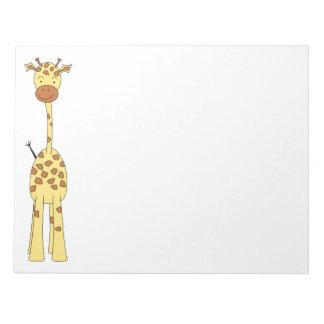 Tall Cute Giraffe. Cartoon Animal. Notepad