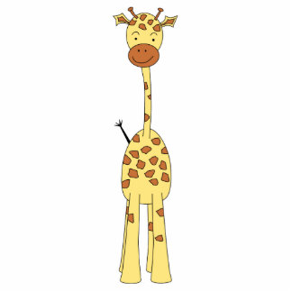 Tall Cute Giraffe. Cartoon Animal. Photo Sculpture Key Ring