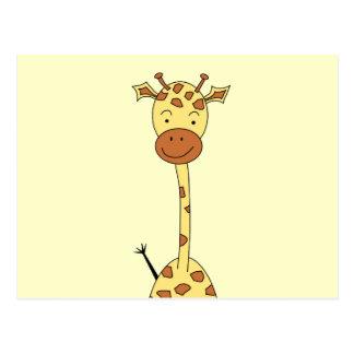 Tall Cute Giraffe Cartoon Animal Post Card