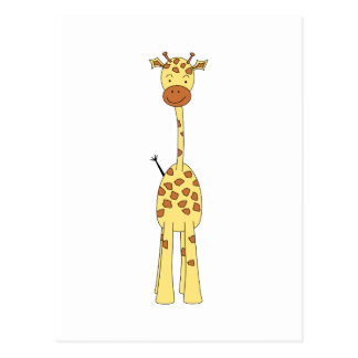 Tall Cute Giraffe Cartoon Animal Postcards