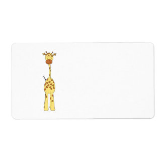 Tall Cute Giraffe. Cartoon Animal. Shipping Label