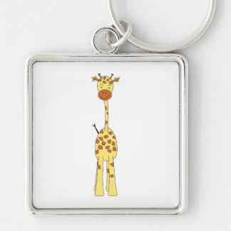 Tall Cute Giraffe. Cartoon Animal. Silver-Colored Square Key Ring