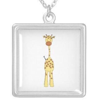Tall Cute Giraffe. Cartoon Animal. Silver Plated Necklace