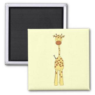 Tall Cute Giraffe. Cartoon Animal. Square Magnet