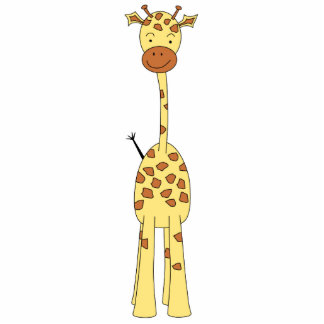 Tall Cute Giraffe. Cartoon Animal. Standing Photo Sculpture