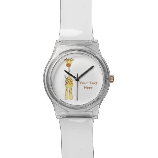 Tall Cute Giraffe. Cartoon Animal. Wrist Watches