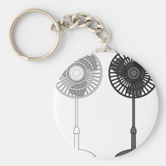 Tall Fan Basic Round Button Key Ring