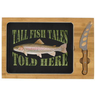Tall Fish Tales Told Here Trout Rectangular Cheeseboard