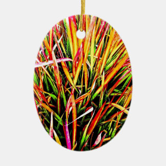 Tall-Grass Colors Ceramic Oval Decoration