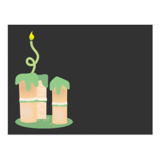 Tall green Birthday cake Postcard