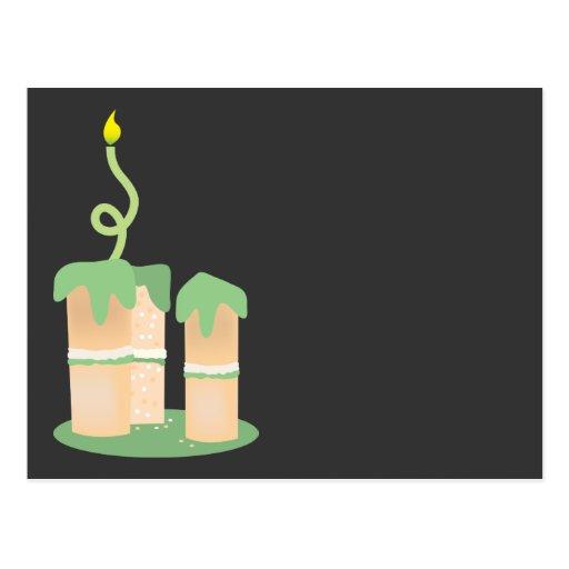 Tall green Birthday cake Postcards