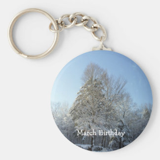 Tall Pine Tree Covered in Snow Basic Round Button Key Ring