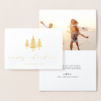 Tall Pines | Holiday Photo Gold Foil Card
