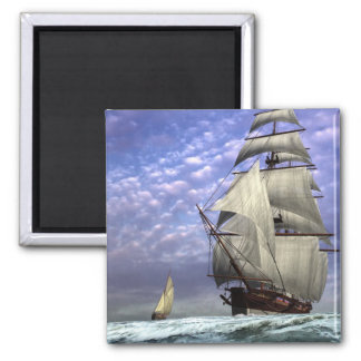 Tall Ship and Ketch Square Magnet