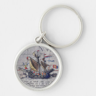 Tall Ship and Map of Pacific Ocean Silver-Colored Round Key Ring