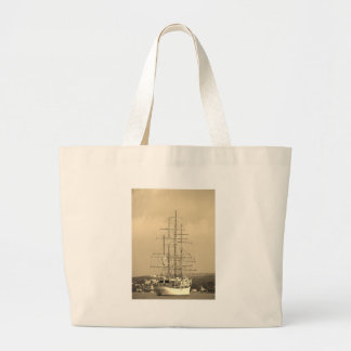Tall ship entering Mahon sepia Large Tote Bag