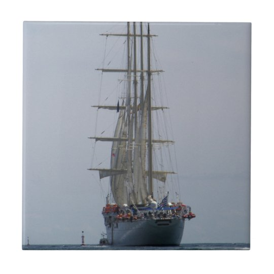 Tall Ship Entering The Open Sea Small Square Tile