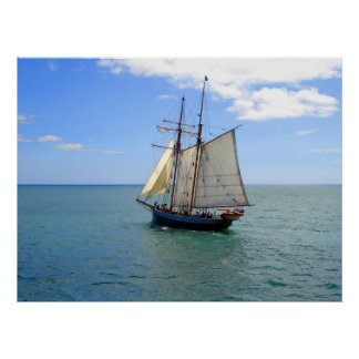 Tall Ship in the Bay of Islands, New Zealand Poster
