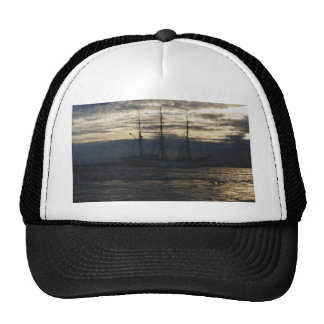 Tall ship in the evening trucker hats