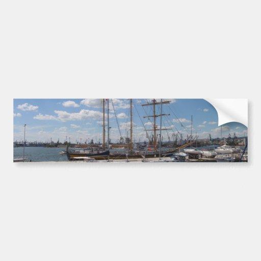 Tall Ship In The Port Of  Varna Bumper Sticker
