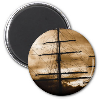 Tall ship mast 6 cm round magnet
