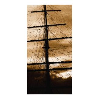 Tall ship mast photo card