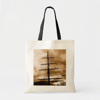 Tall ship mast budget tote bag