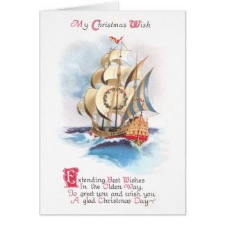 Tall Ship on the High Seas Vintage Christmas Card