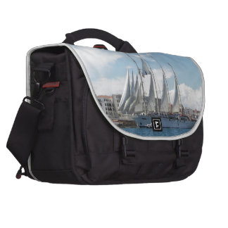 Tall Ship Sailing Out Of Harbor Bags For Laptop
