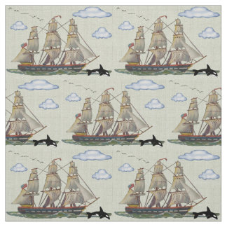 Tall Ship Seascape Fabric