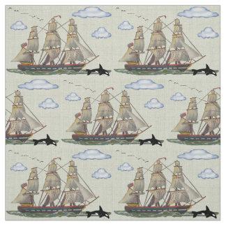 Tall Ship Seascape Fabric