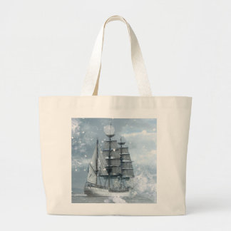 Tall ship vintage winter snow design tote bags