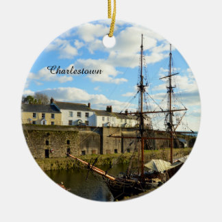 Tall Ships Charlestown Harbour Cornwall England Round Ceramic Decoration